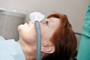 nitrous oxide mask on patient